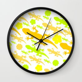 Lizards in yellow and green Wall Clock