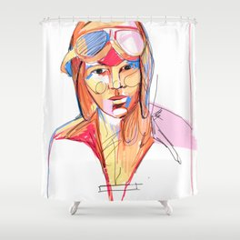 Amelia Earhart by Aitana Pérez Shower Curtain