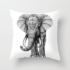 Ornate Elephant Throw Pillow