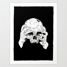 Skull In Hands Art Print