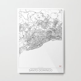 Santo Domingo Map White Metal Print