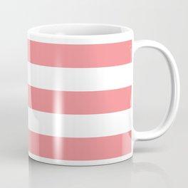Coral and White Stripes Coffee Mug