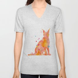 Caracal Watercolor Painting Unisex V-Neck
