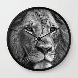 The Lion Portrait (Black and White) Wall Clock