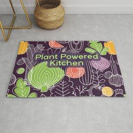 Plant Powered Kitchen Veggie Pattern Background Rug