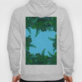 GREEN & BABY BLUE  FERN LEAVES ART Hoody