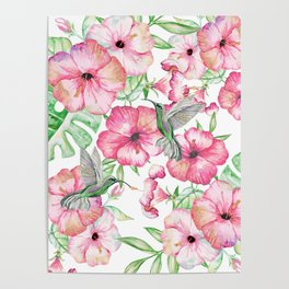 Hibiscus + Hummingbirds Pink Poster