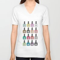 nail polish V-neck T-shirts featuring Nail Polish-holic by uzualsunday