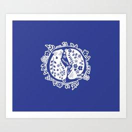 Blue Bunnys Art Print