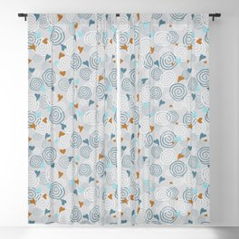 Cinnamon Swirls and Hearts - Gray-Blue-Caramel Blackout Curtain