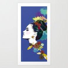 Blue Bun  Art Print