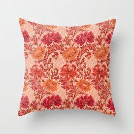William Morris Chrysanthemums, Coral Orange Throw Pillow