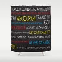 quotes Shower Curtains featuring Friends Quotes by Dr. Spaceman40