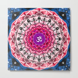 RED OM MANDALA Metal Print