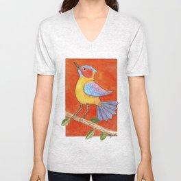 Bird with orange background Unisex V-Neck