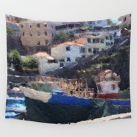 boats Wall Tapestries featuring Fishing Boats by Mr and Mrs Quirynen