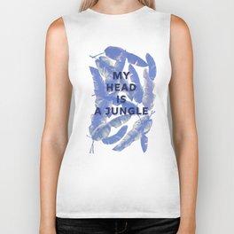 My head is a jungle - blue banana leaves Biker Tank