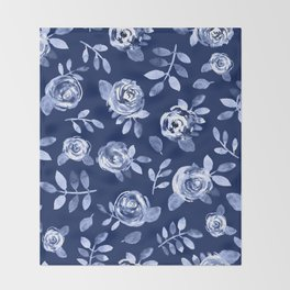 Hand painted navy blue white watercolor floral roses pattern Throw Blanket