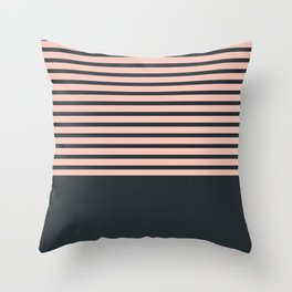 Navy stripes on pale pink Throw Pillow