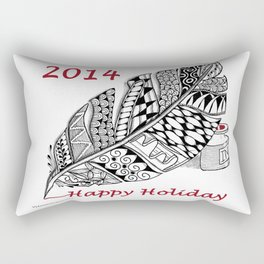 Holiday Greeting Pen and Ink Zentangle Rectangular Pillow