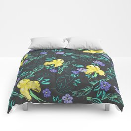 Yellow iris and periwinkle watercolour & ink pattern in black Comforters