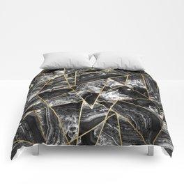 Black White Agate Black Gold Geometric Triangles Comforters