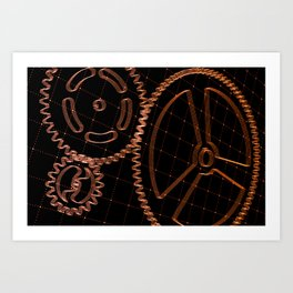 Set of red gears and cogs on virtual screen Art Print