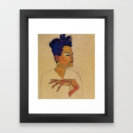 SELF PORTRAIT WITH HANDS ON CHEST - EGON SCHIELE Framed Art Print