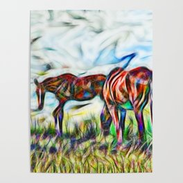 Abstract horses in paddock Poster