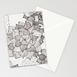 Black and white echeveria succulent Stationery Cards