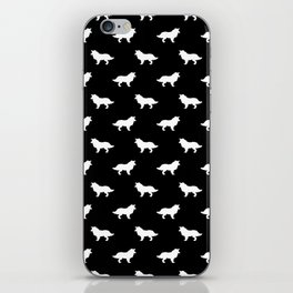 Border Collie black and white minimal silhouette dog silhouettes dog breeds pattern iPhone Skin