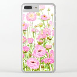 pink buttercup ranunculus field watercolor Clear iPhone Case