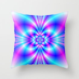 Butterfly Quatrefoil in Blue and Pink Throw Pillow