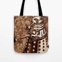 dalek Tote Bags featuring Dalek by Redeemed Ink by - Kagan Masters