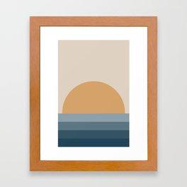 Minimal Retro Sunset / Sunrise - Ocean Blue Framed Art Print