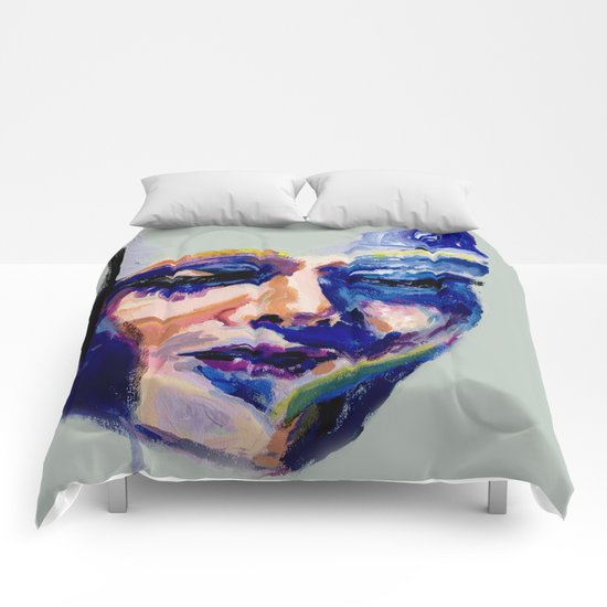 Face in Acrylic Comforters