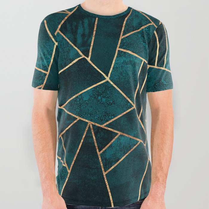 Deep Teal Stone All Over Graphic Tee