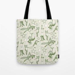 foxy circus green ivory Tote Bag