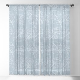 Monstera- Lines - Dusty Blue Sheer Curtain
