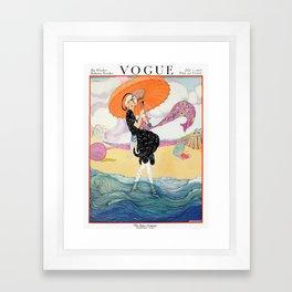 Vintage Magazine Cover - Windy Beach Framed Art Print