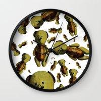 teddy bear Wall Clocks featuring Teddy-bear by Кaterina Кalinich
