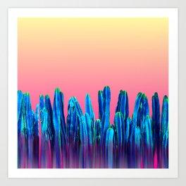 Candy Sunset Blue Cactus Glitch Art Print