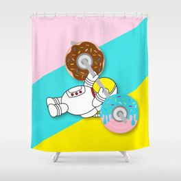 Astro Donut Dumbbell   Astronaut   Cosmonaut   pulps of wood Shower Curtain