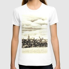 PANORAMA OF A GOTHIC CITY CHELMNO IN POLAND MADE IN FIGURATIVE STYLE T-shirt