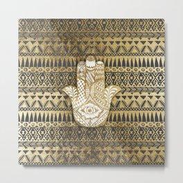 Faux Print Gold Hamsa Hand and Tribal Aztec Metal Print