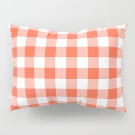 Jumbo Living Coral Color of the Year Orange and White Buffalo Check Plaid Pillow Sham