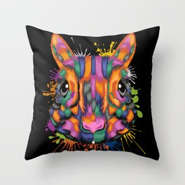 Squirrel Face Color Splashes Throw Pillow