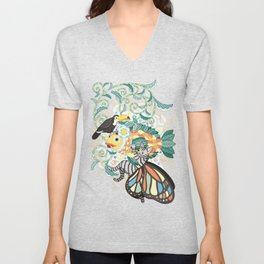 Plant fish and Butterfly cat and Toco toucan (remake) Unisex V-Neck