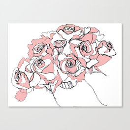 Continuous Line of Roses Canvas Print