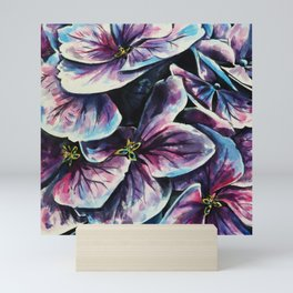 purple flowers watercolor art Mini Art Print